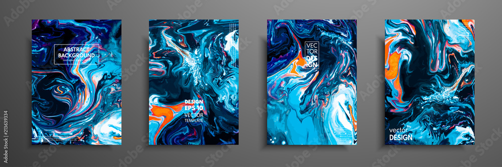 Fototapety, obrazy: Mixture of acrylic paints. Liquid marble texture. Fluid art. Applicable for design cover, presentation, invitation, flyer, annual report, poster and business card, desing packaging. Modern artwork.