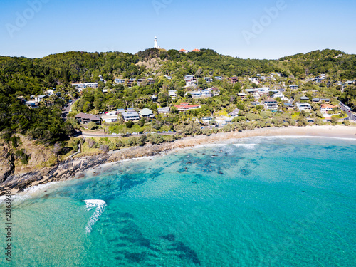 Printed kitchen splashbacks Turkey The Pass and Wategoes Beach at Byron Bay from an aerial view with blue water