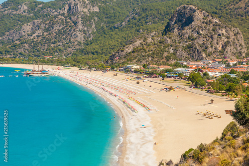 Montage in der Fensternische Khaki Panoramic view Belcekiz Beach. Oludeniz, Blue Lagoon Fethiye