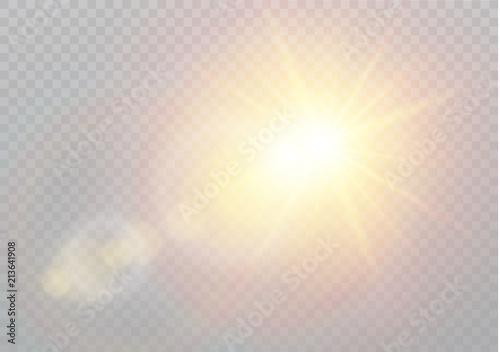 Canvas Print Vector transparent sunlight special lens flare light effect