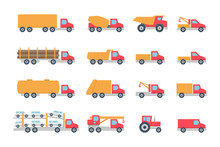 Trucks In Color. Isolated On W...