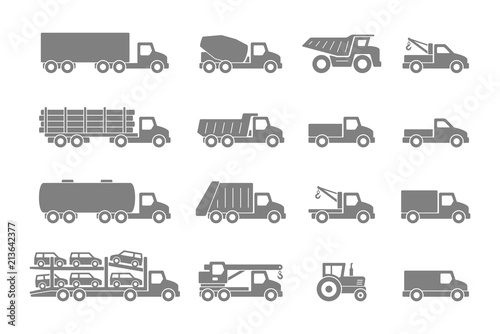 Cuadros en Lienzo Trucks in Gray. isolated on white background