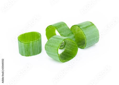 Fototapeta Closeup green onion vegetable sliced on white background obraz