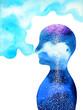 Leinwanddruck Bild human head, chakra power, inspiration abstract thinking, world, universe inside your mind, watercolor painting