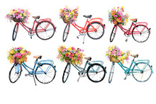 Set Of Watercolor Bicycles Wit...