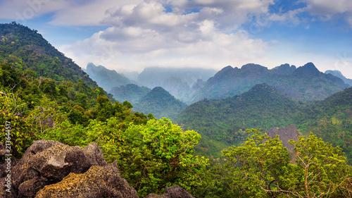 Keuken foto achterwand Asia land Beautiful landscape of mountains in Vang vieng, Laos.