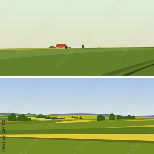 Two Green landscape with yellow fields.