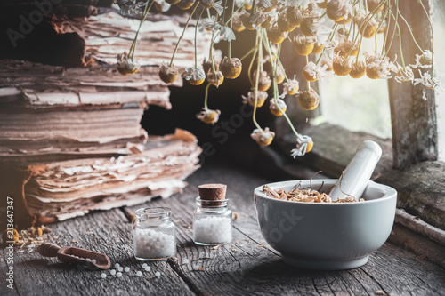Fotografie, Obraz  Mortar of dried healing herbs, bottles of homeopathic globules, old books and bunch of dry chamomile plant