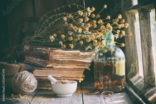 Papiers peints Retro Mortar of dried healing herbs, bottle of essential oil or infusion, old books and bunch of dry chamomile plant. Herbal medicine.