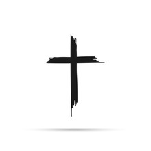 Icon Cross With Shadow On A White Background