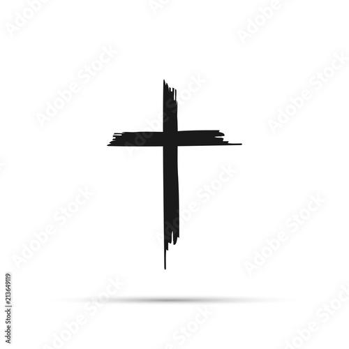 Carta da parati Icon cross with shadow on a white background