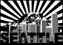 Seattle City Skyline And Mount Rainier With Text Black And White Vector Illustration