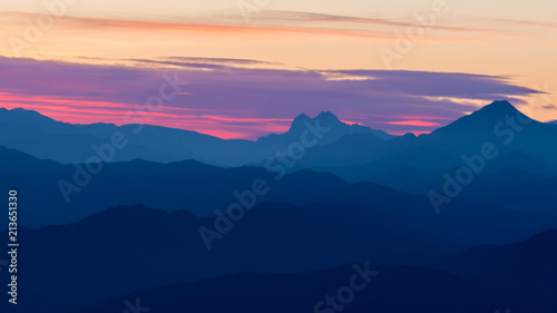 Fotobehang Bergen Beautiful landscape from a Spanish mountain with sunset light (Serra d Entreperes)