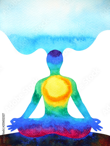 Photo  color chakra human lotus pose yoga, abstract world, universe inside your mind me