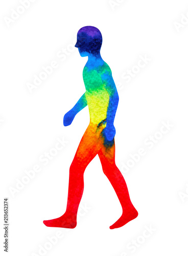 Cuadros en Lienzo human walking pose, abstract body watercolor painting hand drawing illustration