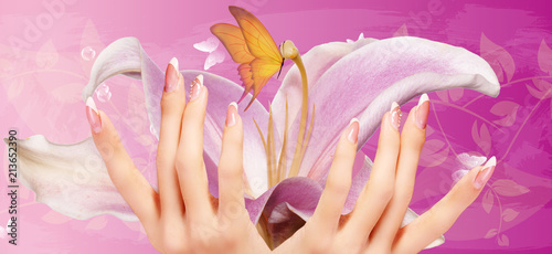 art flowers manicure woman nails Fototapet