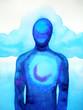 Leinwanddruck Bild human head, chakra power, abstract thinking, world, universe inside your mind, watercolor painting