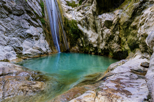 Spoed Foto op Canvas Europa The waterfall of Nidri in Lefkada island with natural azure water pool. Greece