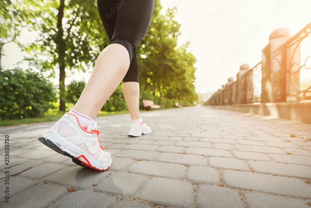 Fototapety, obrazy: Fitness woman training and jogging in summer park