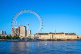 Fototapeta Londyn - riverbank of thames river in london