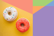 Donuts On A Colorful Bright Ba...