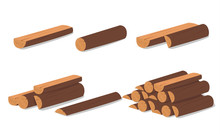 Wooden Logs. Brown Bark Of Felled Dry Wood. Purchase For Construction. Vector Illustration. A Set Of Wooden Straps For Wood, An Illustration Of The Industry Of Wood Materials. Wood Boards