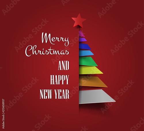 Colorful Christmas Tree Vector.Merry Christmas With Abstract Christmas Tree Vector