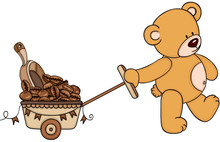 Teddy Bear Pushing Cart Full Of Coffee Bean And Scoop