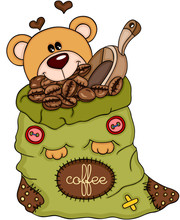Teddy Bear With Bag Of Coffee ...