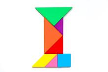 Color Tangram Puzzle In English Alphabet I Shape On White Background
