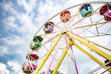 Multicolour Ferris Wheel On Blue Sky Background