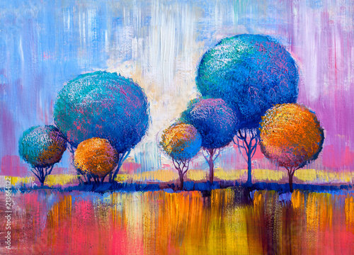 Trees, oil painting, artistic background Wallpaper Mural