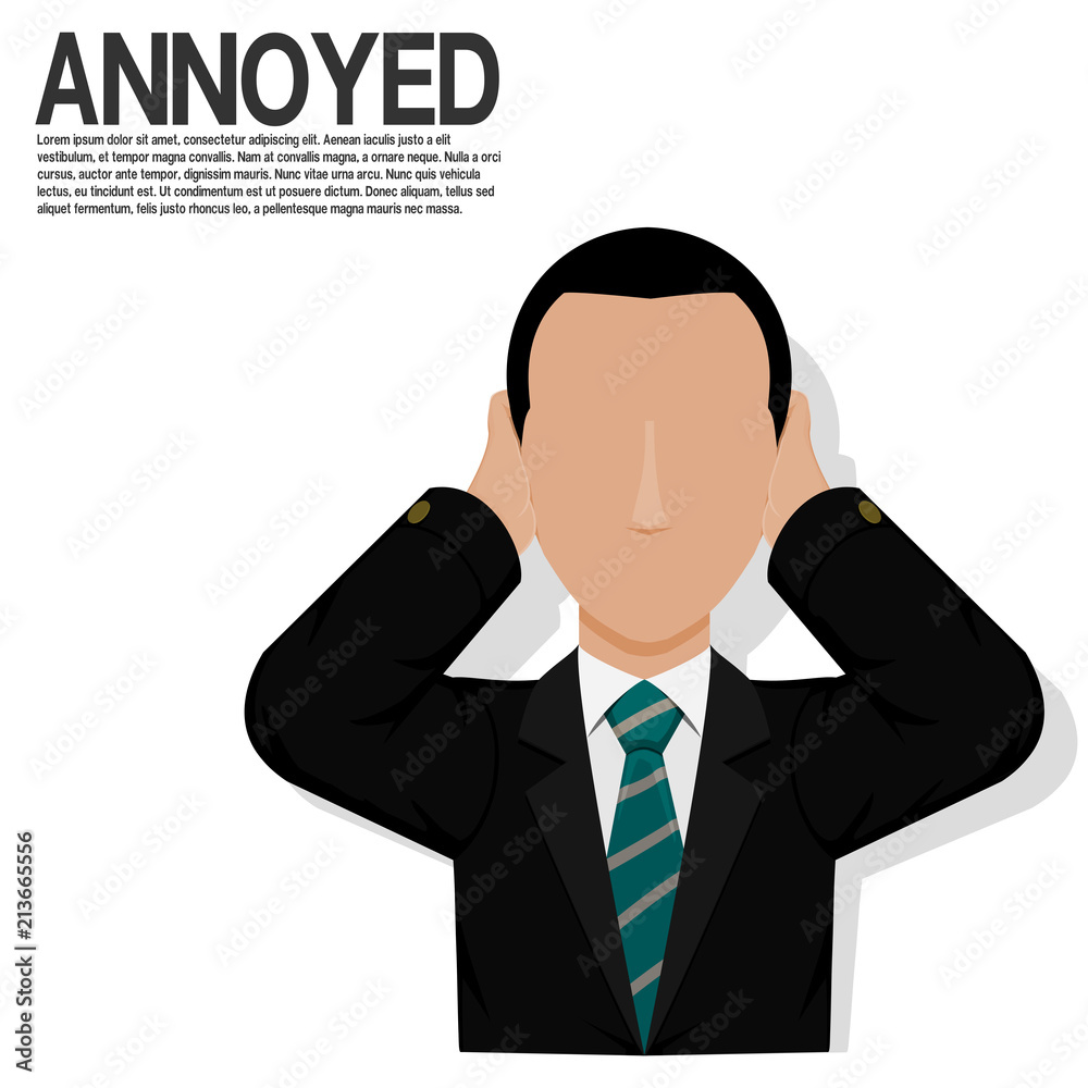 Fototapety, obrazy: An annoyed businessman on transparent background