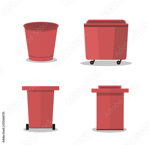 Fototapety, obrazy: outdoor garbage container.vector illustration. red object. plastic waste container.