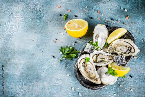 Fresh raw seafood, oysters with lemon and ice on a light blue background Fototapeta