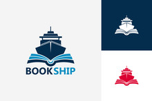 Modern Book Ship Logo Template Design Vector, Emblem, Design Concept, Creative Symbol, Icon