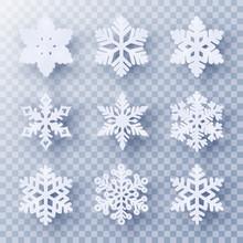 Vector Set Of 9 White Christma...