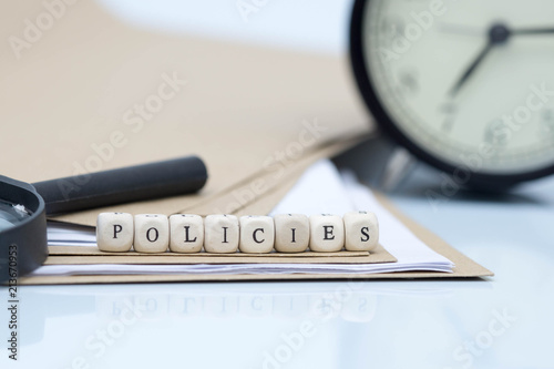 The concept of policies  Words use blocks of wood on files