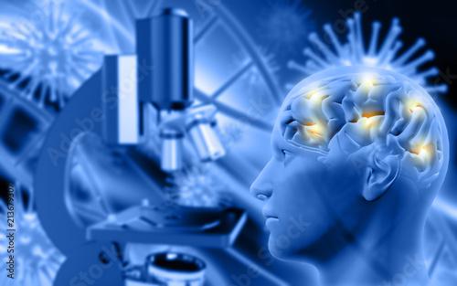 Spoed Foto op Canvas Muziekwinkel 3D male figure with brain on defocussed background with microscope and virus cells