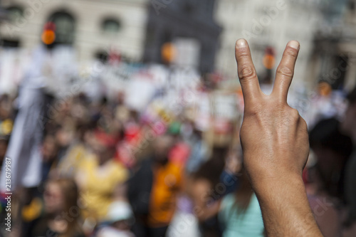 Photo A raised hand of a protestor at a political demonstration