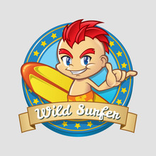 Smiling Cartoon Surfer Boy Badge