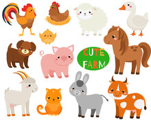 Cute Cartoon Farm Animals Set....
