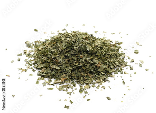 Deurstickers Aromatische Pile celery spice, dried chopped leaves isolated on white
