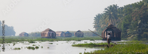 Panorama of houseboats on Kerala backwaters Wallpaper Mural