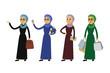 Set of Cartoon arab happy business woman
