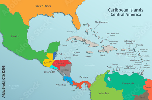 Caribbean islands Central America map state names card ...