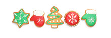 Tasty Homemade Christmas Cookies On White Background