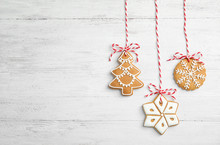 Tasty Homemade Christmas Cookies On Wooden Background