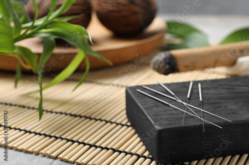 Board with needles for acupuncture on bamboo mat Canvas Print