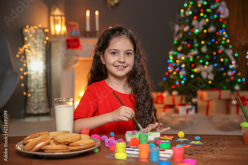Little Child Painting Christmas Tree Of Foam Plastic At Home Buy